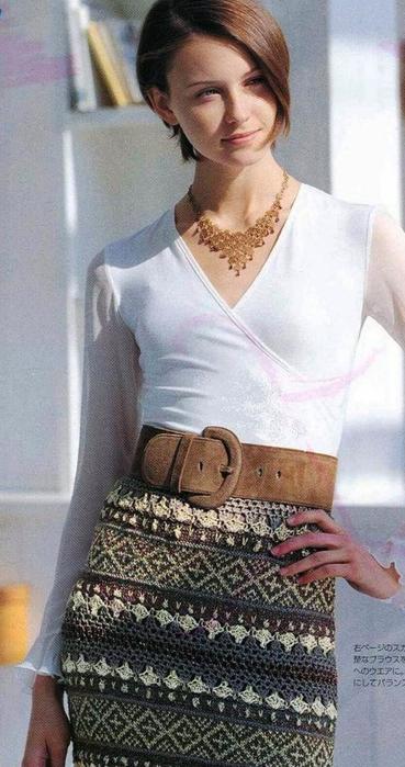 Жаккард крючком. Схемы вязания стильной юбки (7) (369x700, 292Kb)