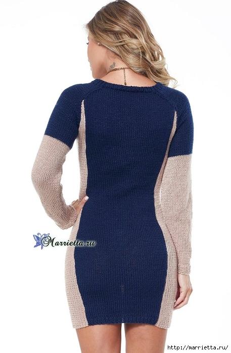 Платье спицами, которое будет стройнить (3) (457x700, 178Kb)