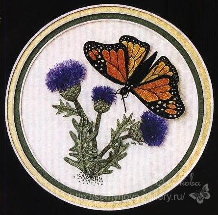 Бабочка-монарх. Объемная вышивка гладью