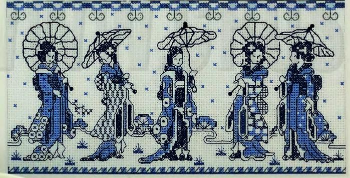 Вышивка крестом картины «Японские дамы»