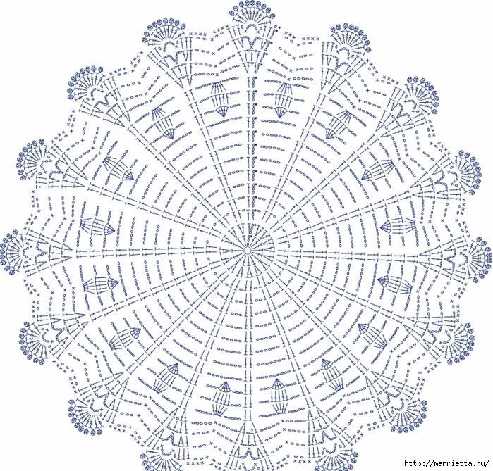 Голубая круглая салфетка крючком. Схема (5) (700x669, 483Kb)