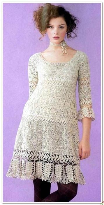 Вязание крючком. Ажурное платье со схемой вязания./3071837_321 (357x700, 176Kb)
