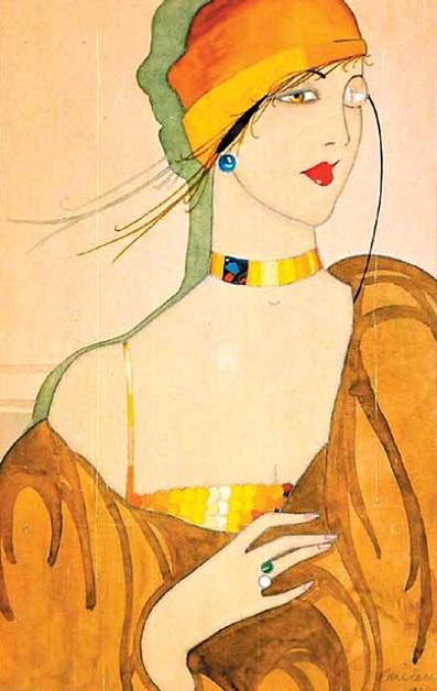Dama sa monoklom, tempera na papiru, 1927 (397x628, 258Kb)