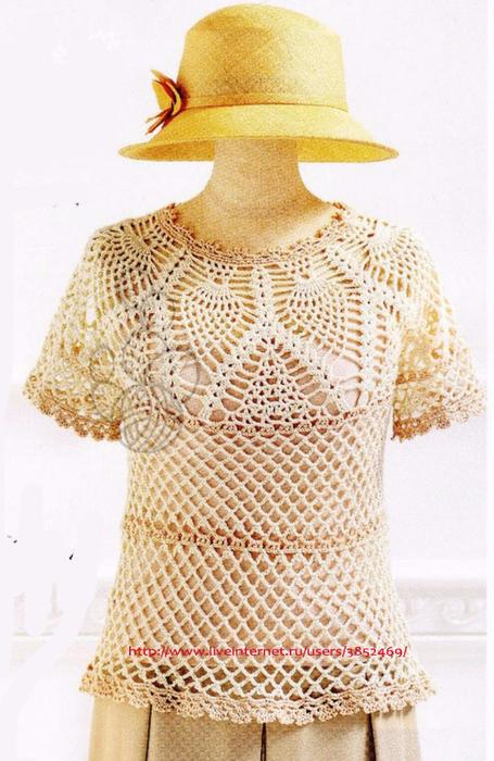 Летняя кофточка  с кругой кокеткой из Pineaplle Crochet 3 (455x700, 377Kb)