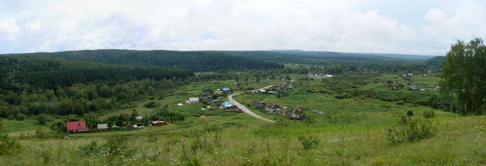 Панорама с каменистой степи, вид на Новососедово (700x239, 243Kb)