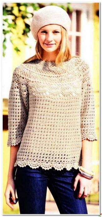 Вязание крючком. Ажурный пуловер с круглой кокеткой.  схема вязания/3071837_061 (328x700, 177Kb)