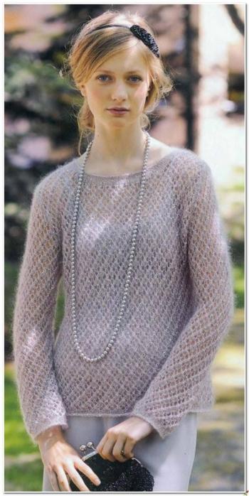 Вязание спицами. Сиреневый пуловер. схема вязания спицами/3071837_091 (350x700, 188Kb)