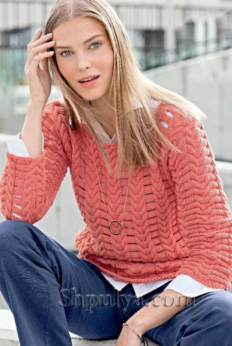 Коралловый ажурный пуловер спицами, ажурный пуловер спицами описание схема, ажурный пуловер спицами для женщин, ажурные кофточки спицами с описанием, схема ажурного пуловера спицами, вязаный женский пуловер, вязание для лета, вязаные модели с описанием, вязание спицами для женщин с описанием, сайт о вязании, купить пряжу из кашемира, интернет магазин пряжи, Шпуля сайт о вязании, www.shpulya.com,/5557795_1816 (469x700, 272Kb)