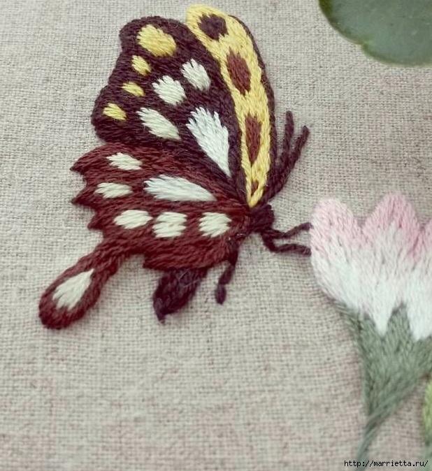 Вышивка гладью Бабочка (20) (618x674, 289Kb)
