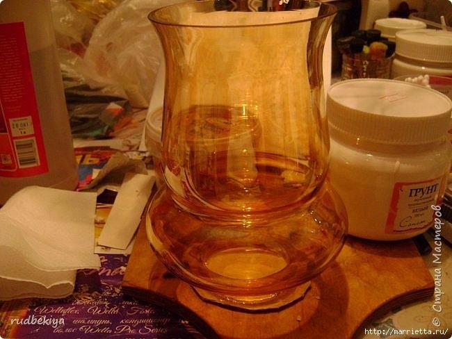 Декоративная бутылка и вазочка из плафона. Декупаж (1) (650x488, 188Kb)