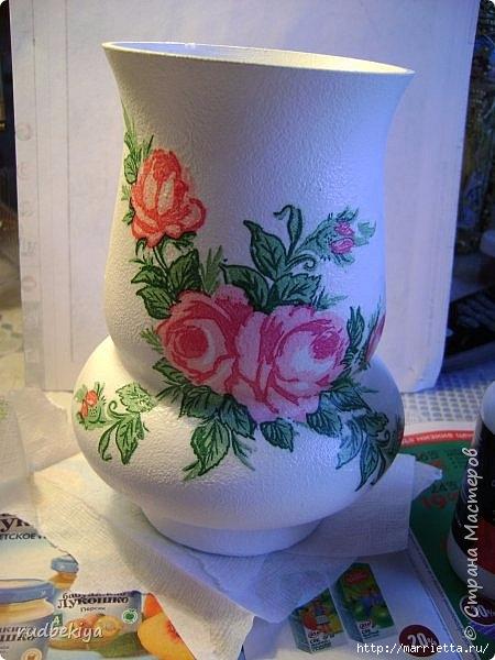 Декоративная бутылка и вазочка из плафона. Декупаж (5) (450x600, 159Kb)
