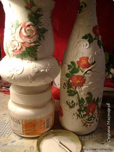 Декоративная бутылка и вазочка из плафона. Декупаж (9) (450x600, 150Kb)