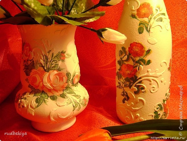 Декоративная бутылка и вазочка из плафона. Декупаж (11) (650x488, 228Kb)