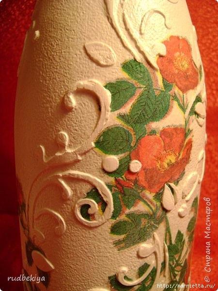 Декоративная бутылка и вазочка из плафона. Декупаж (15) (450x600, 181Kb)