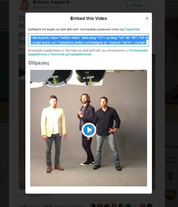 Как получить код видео Твиттера для сайта