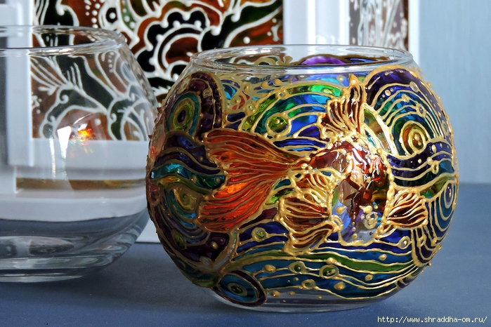 ваза подсвечник ЗОЛОТЫЕ РЫБКИ от Shraddha (3) (700x466, 331Kb)