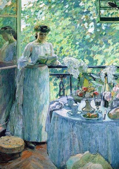 Henri Ottmann _Woman on a Balcony (403x570, 290Kb)