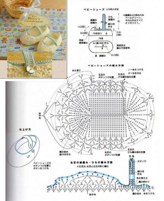 Пинетки - туфельки связанные крючком со схемой вязания./3071837_252 (572x700, 265Kb)