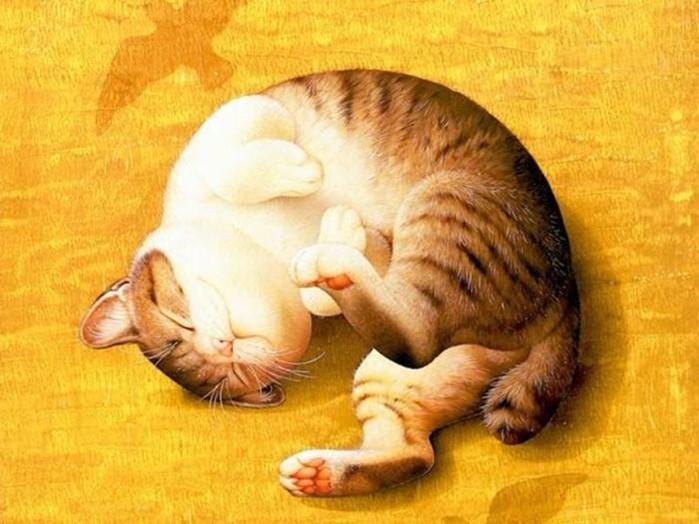 Японская художница Макото Мурамацу - кошки на забавных картинах для паззлов