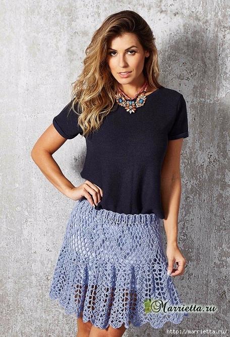 Летняя юбка крючком. Схемы вязания (4) (456x666, 302Kb)