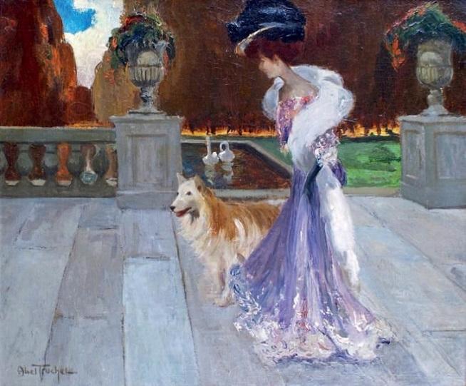 Элегантная дама с собакой на терассе парка élégante-dans-un-parc (654x541, 293Kb)