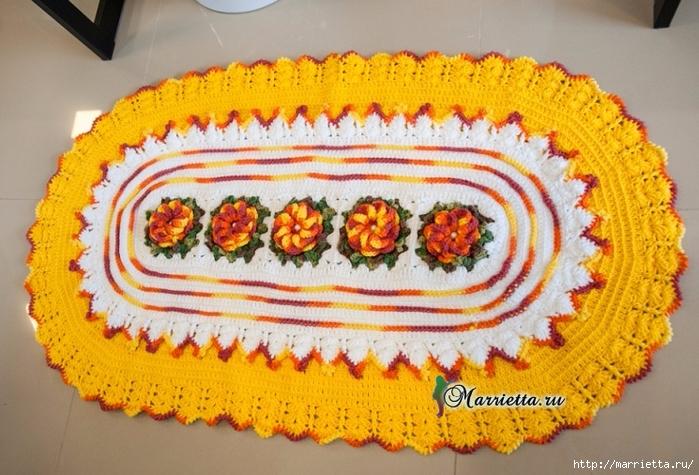 Желтый овальный коврик с цветами крючком (3) (700x475, 297Kb)