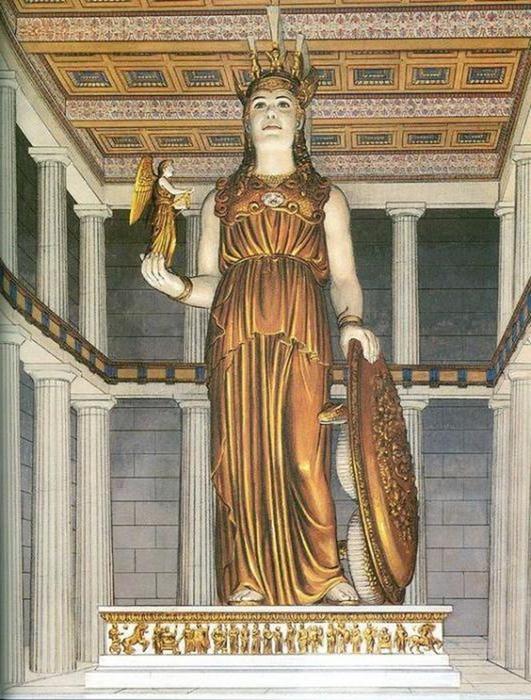 «Афина Парфенос» — легендарная статуя богини на вершине Акрополя