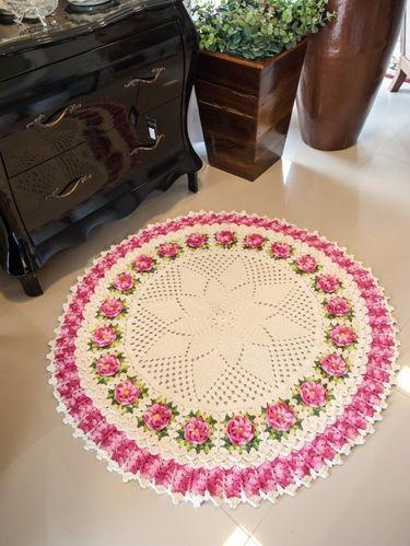 Круглый коврик крючком с розочками. Схемы вязания (4) (375x499, 158Kb)