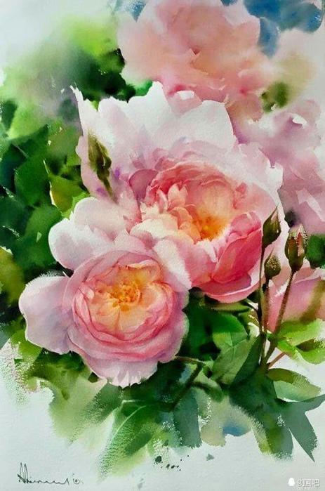 акварельные цветы 19 (463x700, 342Kb)