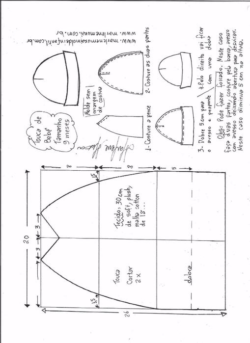 Летняя трикотажная шапочка для малышки (4) (509x700, 164Kb)