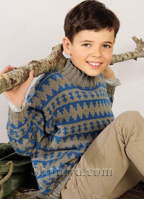 Свитер для мальчика с жаккардовым узором, Детский свитер с жаккардовым узором, пуловер для мальчика спицами описание схема, детский пуловер спицами описание схема, пуловер для мальчика 4-8 лет связать, вязание для детей с описанием, вязание для мальчиков, пуловер для мальчика спицами описание схема, свитер для мальчика спицами, жаккардовый пуловер спицами, пряжа для вязания спицами, купить пряжу, сайт о вязании спицами, Шпуля сайт о вязании, /5557795_1858 (507x700, 284Kb)