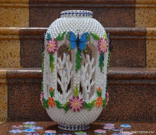 Очень красивый фонарь с цветами и бабочками. Модульное оригами (8) (549x475, 190Kb)