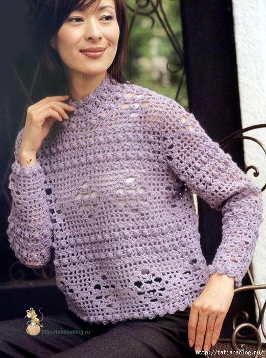 Ажурный пуловер связанный крючком, схема вязания присутствует/3071837_121 (521x700, 341Kb)