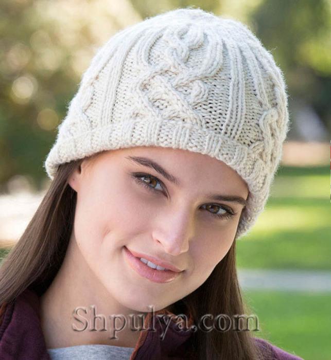 Шапка-бини с аранами, шапка спицами описание и схема, как связать шапку спицами, вяжем женскую шапку, шапка спицами, вязание шапки, сайт о вязании, пряжа в наличии, купить пряжу, итальянская пряжа в бобинах, /5557795_1897_3 (643x700, 116Kb)
