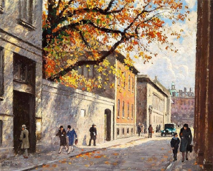 Autumn day in Fiolstræde in Copenhagen . Paul-Gustave Fischer .Danish, 1860-1934 (700x561, 205Kb)