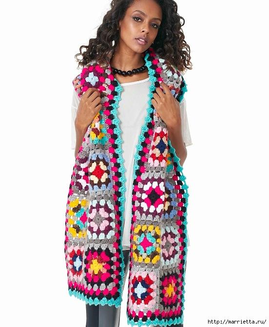 Красочный шарф крючком бабушкиными квадратами (1) (552x670, 211Kb)