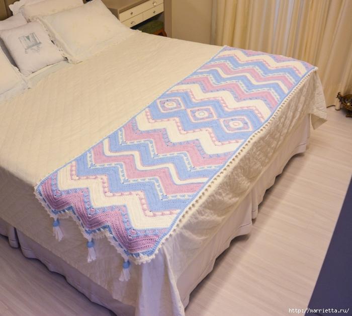 Вязаная крючком накидка «Зигзаг» для украшения кровати (1) (700x628, 306Kb)