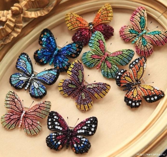 Объемная вышивка. Бабочки в вышивке гладью (20) (693x653, 354Kb)