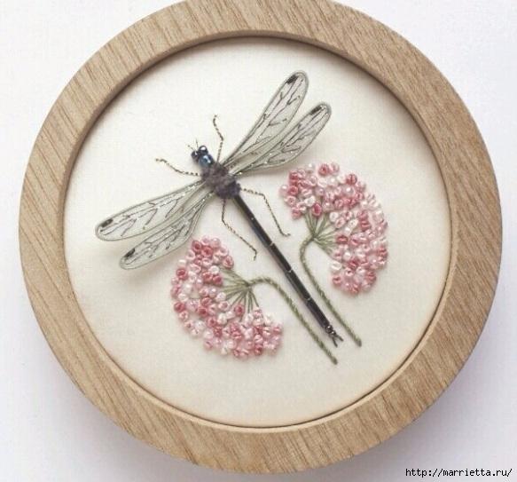 Объемная вышивка. Бабочки в вышивке гладью (34) (583x543, 189Kb)