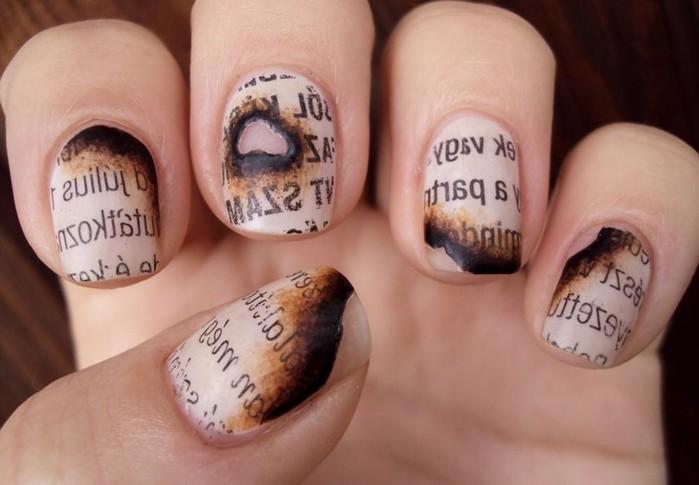 Газетный принт на ногтях в домашних условиях