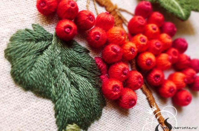 Цветы объемной вышивкой гладью. Красивые работы (18) (684x452, 216Kb)