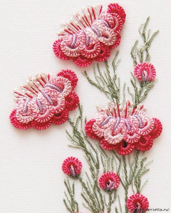 Цветы объемной вышивкой гладью. Красивые работы (21) (552x687, 291Kb)