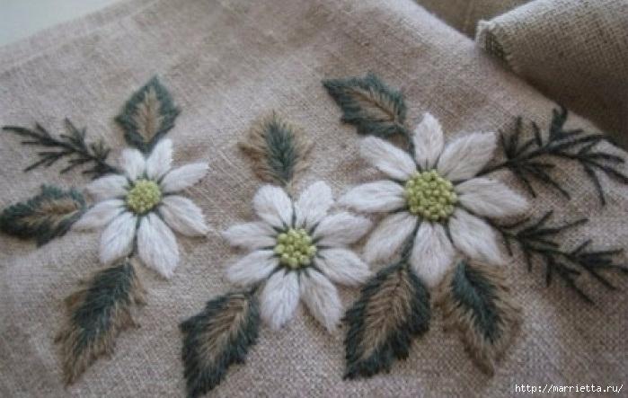 Цветы объемной вышивкой гладью. Красивые работы (22) (699x443, 194Kb)