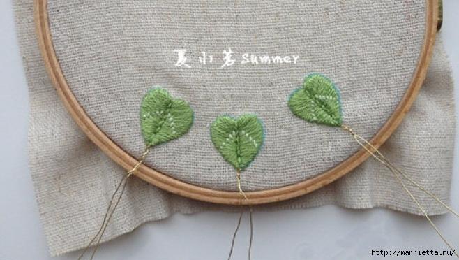 Цветы объемной вышивкой гладью. Красивые работы (25) (658x372, 185Kb)