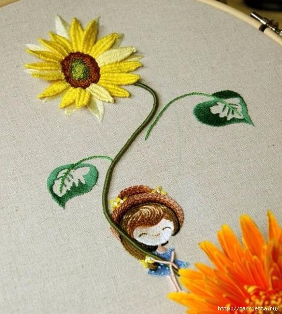 Цветы объемной вышивкой гладью. Красивые работы (29) (553x615, 243Kb)