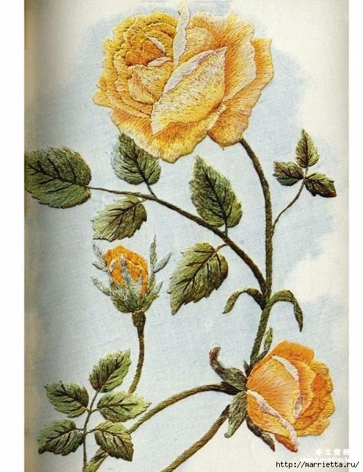 Цветы объемной вышивкой гладью. Красивые работы (34) (524x680, 277Kb)