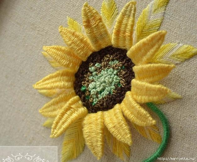 Цветы объемной вышивкой гладью. Красивые работы (35) (628x517, 238Kb)