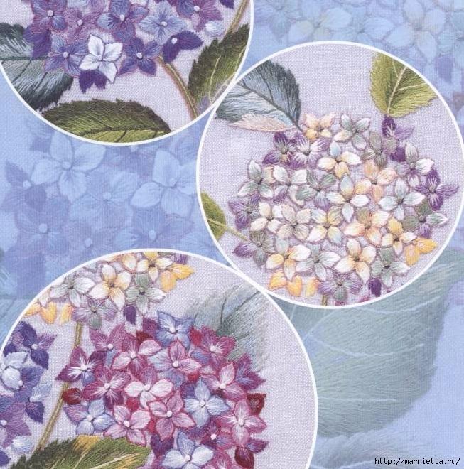 Цветы объемной вышивкой гладью. Красивые работы (41) (653x660, 357Kb)