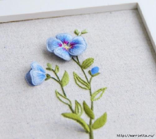 Цветы объемной вышивкой гладью. Красивые работы (43) (501x448, 122Kb)