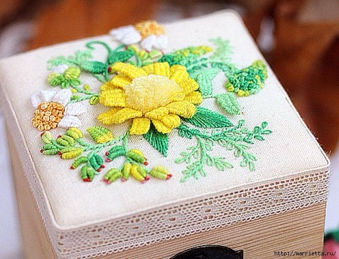 Цветы объемной вышивкой гладью. Красивые работы (45) (659x505, 319Kb)